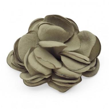 Cabochon  fiore in stoffa color khaki...