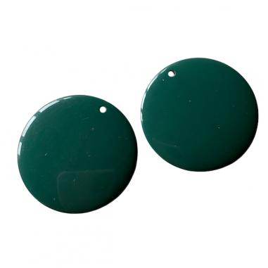 Perla piatta in resina verde scuro...