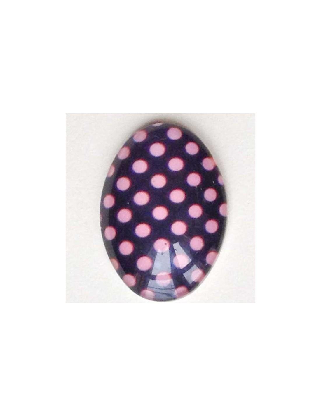 Cabochon Di Vetro Ovale 13x18 Sfondo Nero Con Pois Rosa Salmone