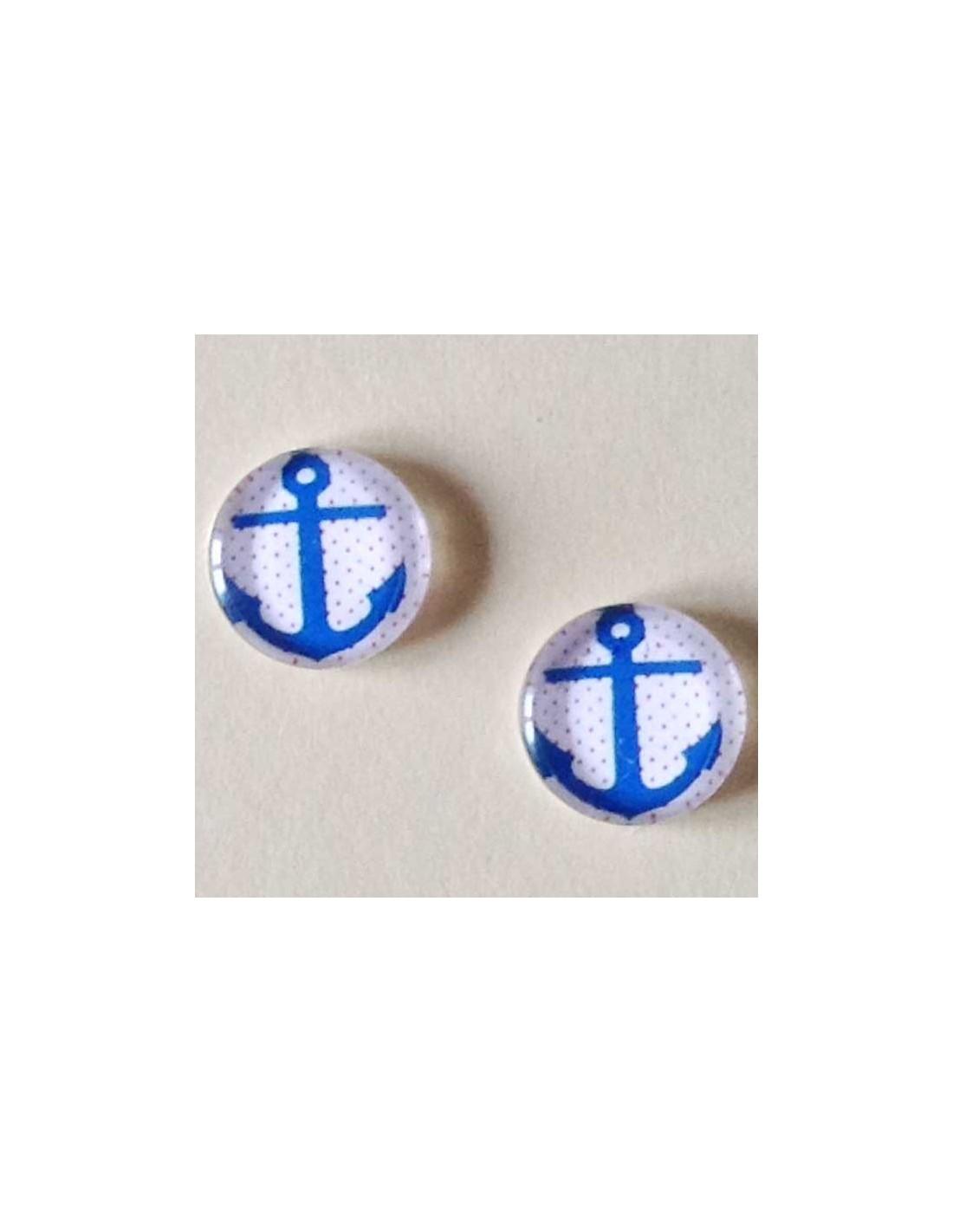 Cabochon In Vetro Tondo 12 Mm Ancora Azzurra Su Sfondo Bianco X 2