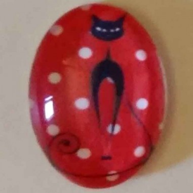 Cabochon Di Vetro Ovale 13x18mm Gatto Nero Su Sfondo Rosso E Pois