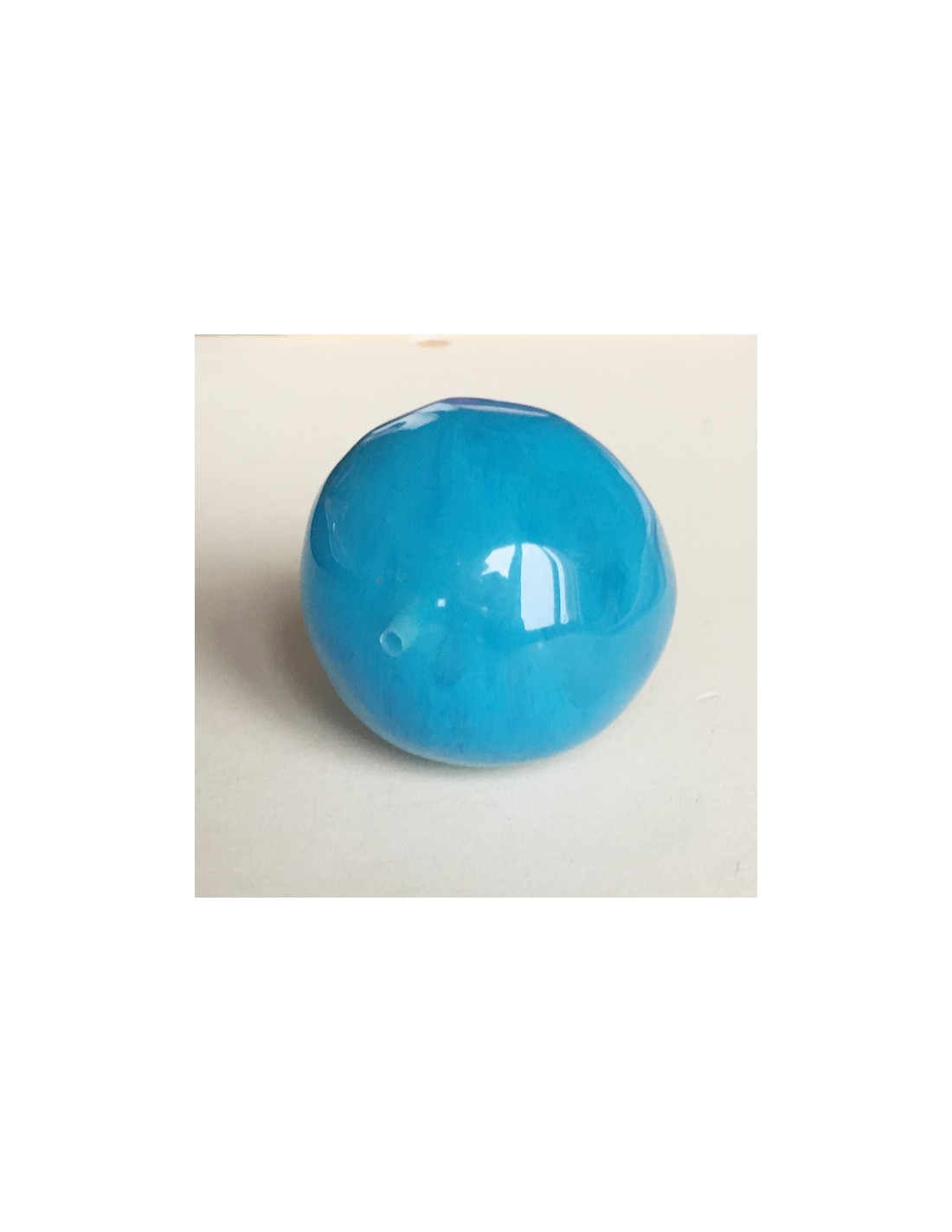 Grande perla azzurra in resina effetto vetro tonda irregolare 30 mm