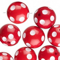 Perla tonda rossa in resina...
