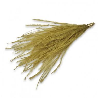 Lunga piuma di struzzo verde oliva...