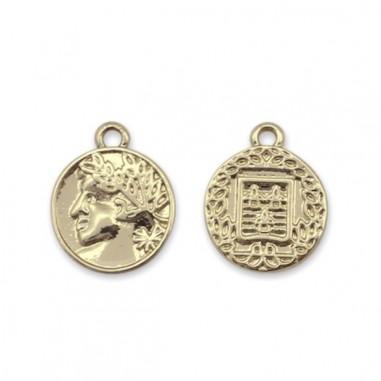 Charm monetina dorata 15,5x12,5 mm, x 1